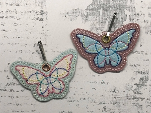 Satin Butterfly Zipper Pull Embroidery Design
